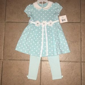 Floral striped polka dot dress w/ legging set